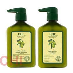 Набор Chi Naturals with Olive Oil Шампунь и Кондиционер 2x340 мл CHIOSB12, CHIOC12