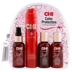 Набор дорожный для окрашенных волос Chi Rose Hip Oil Color Protection 3x59 мл + 74 гр CHK8398
